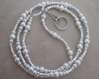 white pearl silver lanyard badge ID holder