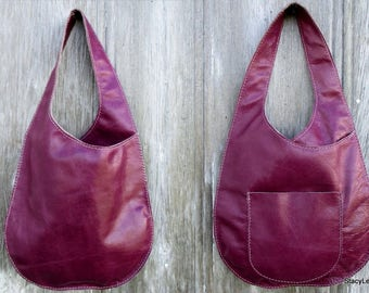 Distressed Magenta Leather Sling Bag by Stacy Leigh