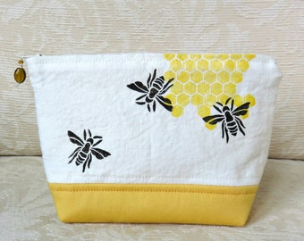 Honeybee Zip Pouch, Hand Printed Fabric Clutch