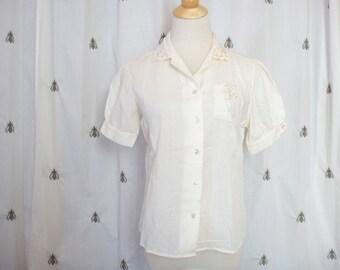 Vintage Boho Ivory White Blouse, Sheer Embroidery and Eyelet Detail, Short Sleeves, Size Medium