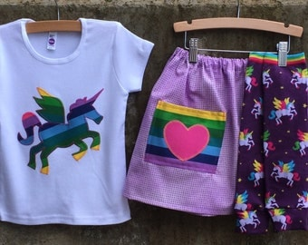 Girls Winged Unicorn Shirt, Skirt and Leg Warmer Set - Sizes to Fit Babies, Toddlers and Kids - Great Birthday Gift or Party Outfit