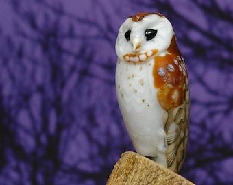 Barn Owl Lampwork glass wildlife sculpture and bead by Cleo Dunsmore Buchanan - GramaTortoise 46 art sculpture wildlife art collectible