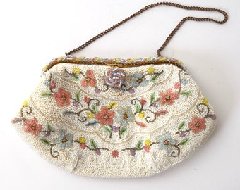 SUMMER SALE/ 30% off Vintage 50s 60s Beaded Floral Handbag