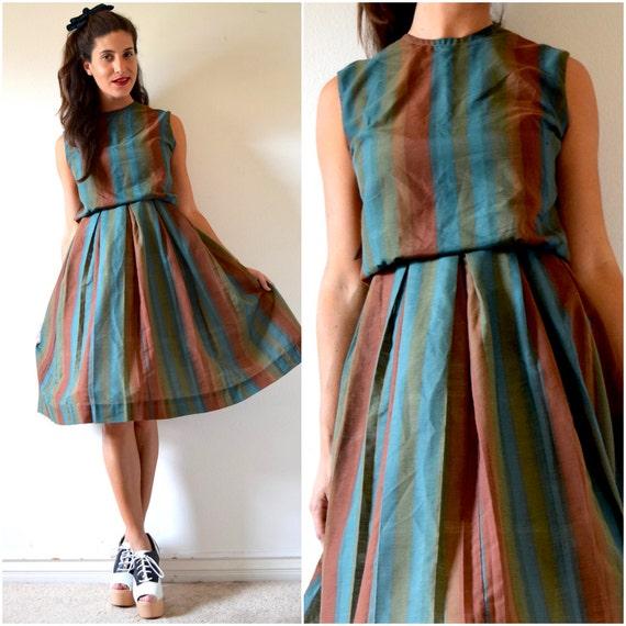 Vintage 50s 60s Lucky Day Striped Shirt Waist Dress (size medium)