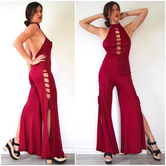 Vintage 70s Get Down and Boogie Burgundy Backless Plunging Neckline Bellbottom Jumpsuit (size medium, large)