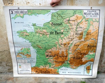Vintage old school map France n 4 Vidal Lablache 39.8 inches x 47.2 inches