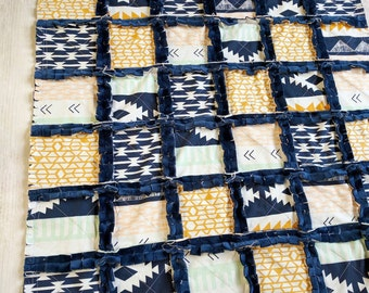 Aztec Baby Quilt - Aztec Crib Bedding - Aztec Baby Blanket - Navy, Gold, Mint Green Minky Blanket - Baby Shower Gift - Aztec Nursery Blanket