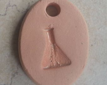 SPECIAL PRICE - Small Bisque Pottery Pendant or Mini Ornament - Aromatherapy Essential Oil Diffuser - with Glazed Details