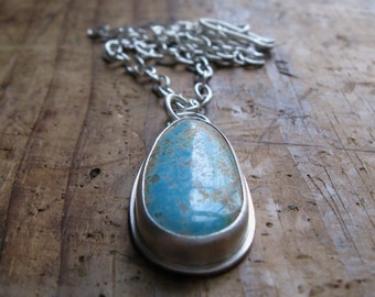 American Pilot Mountain Turquoise and Sterling Silver Necklace Pendant