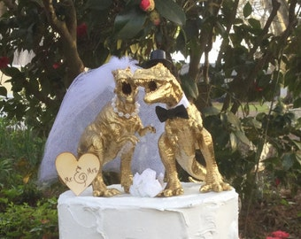 Dinosaur Wedding Cake Topper, T-Rex Cake Topper, Gold Dinosaurs-Prehistoric-Animal Cake TopperWedding Topper