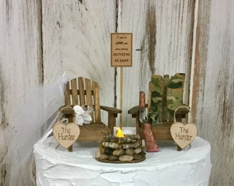 Deer Hunting Cake Topper, Lighted Campfire, Camping Cake Topper, The Hunt is Over, Bride and Groom, Adirondack Chairs, Sportmans Cake