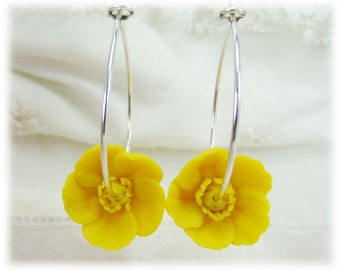 Yellow Buttercup Hoop Earrings - Yellow Flower Hoop Earrings, Buttercup Jewelry Collection