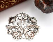 ANTIQUE SILVER * Scroll Flourish Acanthus Leaf Stampings ~ Jewelry Findings - (FB-6042)