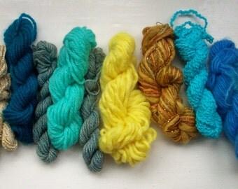 Grab bag assorted yarn 50g yellow beige turquoise M0117-5