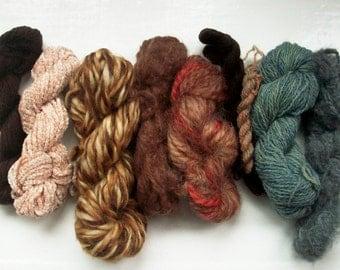Grab bag assorted yarn 50g neutrals grey beige brown M0117-9