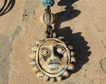 Pottery Sun Face Pendant Necklace, Vintage Handmade Pottery Sun Face, Pottery Pendant, Leather Necklace, Earthy, Rustic, Jewelry, Gift Idea