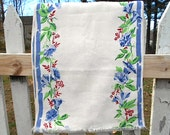 Vtg linen flax toweling fabric 4 yds towel yardage, runner - floral Morning glory, pure flax linen