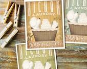 Bichon Frise dog laundry basket laundry room art vintage style artwork by Stephen Fowler Giclee Signed Print