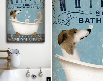 Whippet dog bath soap Company artwork on gallery wrapped canvas by Stephen Fowler
