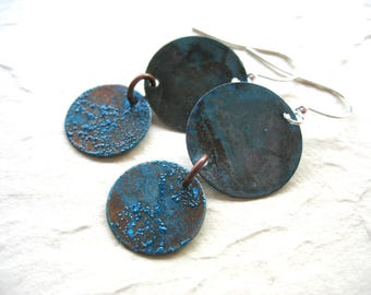 Copper Earrings, Handmade Hammered Oxidized Copper Dangle Drop Earrings, Copper Jewelry, luminous creation