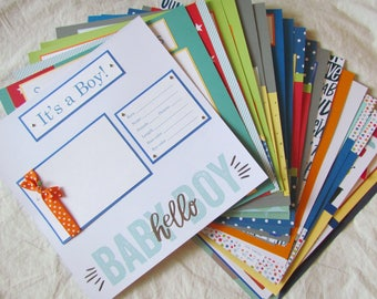 BABY BOY Scrapbook Pages for 12x12 baby book - FiRsT YeAr ALbUm - 20 premade pages - BriGhT -n- CHeeRy, memory book, newborn, scrapbooking