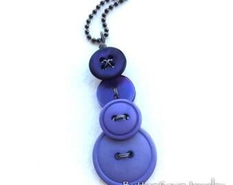 Regal Purple Button Pendant Necklace