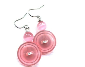 Spring Sale Shiny Pink Vintage Button Dangle Earrings with white wires