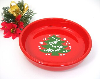 Waechtersbach Individual Red Pasta Bowl, Christmas Tree Pattern, 8 Inch Wide, Vintage 1980s Holiday Dish, Single Bowl, Made in West Germany