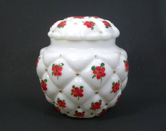 Consolidated Glass White Milk Glass Biscuit Jar with Red Flowers - Diamond Quilt Tufted Pillow - Vtg 1950 Shabby Cottage - Small Pet Urn