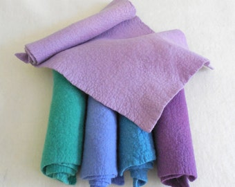 Wool Felt / 100% Merino Wool / Choice of felted sheets or prefelt sheets / hand dyed and felted