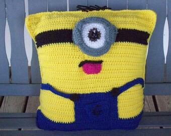 Boy Minion,Pillow,Cartoon,Character,Gift,Photos,Children,Teens,Adults,Toy,Decor,Collector,Crocheted