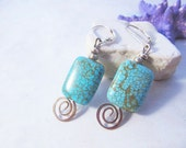 turquoise earrings - silv...
