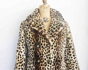 vintage faux leopard print coat mouton fur coat maxi