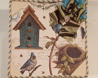Box, Jewelry, Keepsake box, handmade, organization box, desk box, bird house