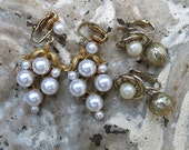 Two Pairs Vintage Pearl Earrings ... Vintage pearl dangle earrings, pearl drop earrings ... SALE!