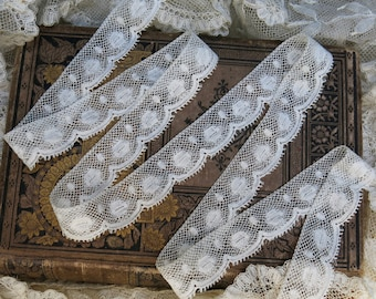 Vintage Valenciennes Lace, Scalloped, Picot, Ovals & Dots ... Antique French Lace Edging Yardage, Fine Cotton Trim, Embellishment...LY161014