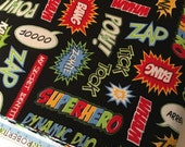 Superhero fabric, Superheroes bedding fabric, Superhero cape fabric, Comic Book Words in Black, Choose your cut