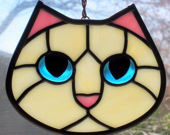 Stained Glass Cat Face Creamy White Kitty with Blue Eyes Suncatcher