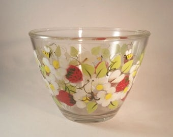Hand Painted Glass Serving Bowl With Strawberries, Blooms and Bees