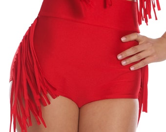 Annie Western Cowgirl Fringe Bikini Bottom in Red