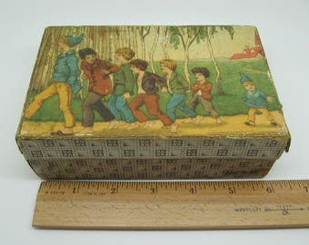 Antique Paper Box with Marching Boys