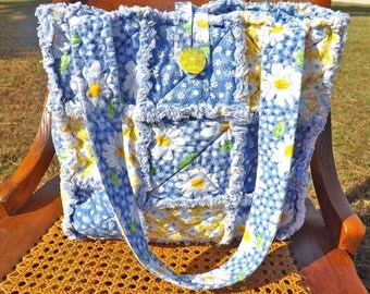 Daisies Rag Quilt Tote - Blue and Yellow - Quilted Purse - Rag Quilt Handbag - Handmade Tote