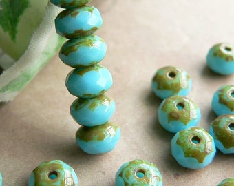 Blue Picasso Czech Glass Bead Gemstone Rondell Donut Fire Polished Opaque Aqua 4x7mm (25)