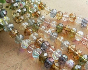 Luster Mix Czech Glass Round Donut Rondell Gemstone Beads Picasso 6x8mm (25)
