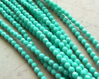 Opaque Dark Green Turquoise Czech Glass Beads Opaque Round Firepolished 4mm (50)