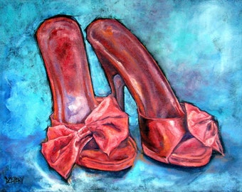 "Original Oil painting on fine jute, Vintage Mules ""Retro Red"" 32"" by 41"" Fine Art SHOE Series> FREE shipping!"
