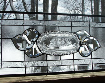 stained glass panel vintage Glass tray with bevels