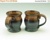 Mug Sale My Little Tea Mug Singles, Wheel Thrown 8 oz Pot Belly Mug, Handmade Pottery Honey Brown and Dark Blue Beverage Cup