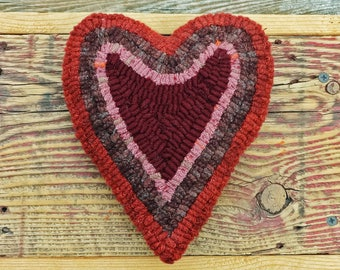 Primitive Rug Hooking - Hand Hooked Heart Pillow - Folk Art Home Decor and Accents