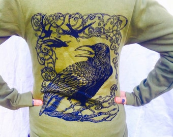 Green Raven Crow Tree Birds Nevermore Gift For Him/Her Celtic Hoodie Gothic Poe ZipUp Unisex Made in USA Sm M L XL XXL